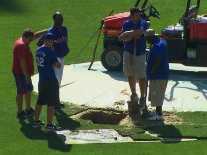 Sinkhole At Rangers Ballpark on June 11, 2013 (credit: CBS 11 News)