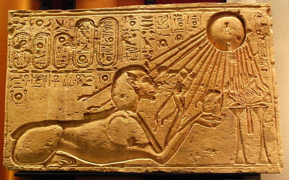 Sun god cultCredit: Hans OllermannAkhenaten, pictured here as a sphinx, hoped to build a cult of worship to the sun god Aten in an undeveloped site that was uncontaminated by worship of other gods.