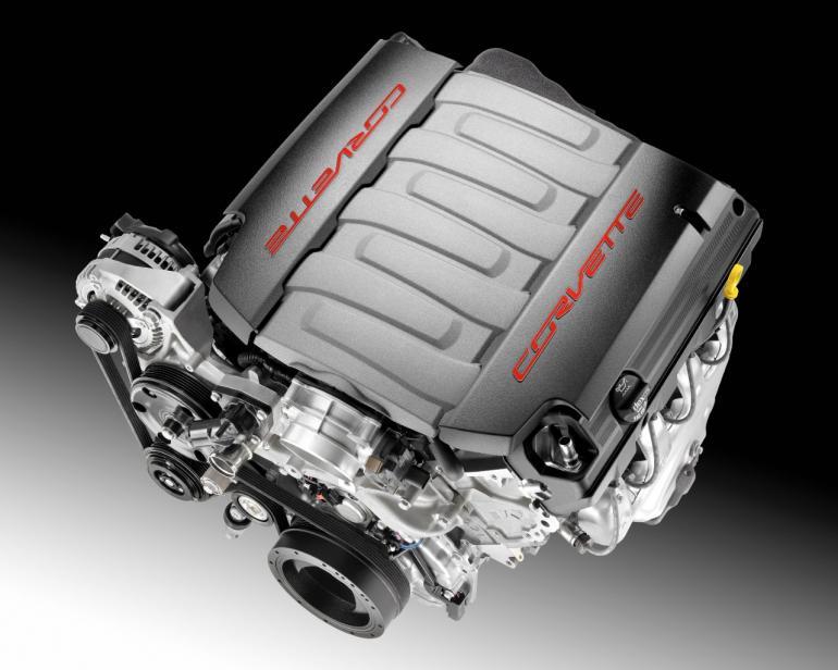 The V8 engine that powers the 2014 Corvette Stingray.  General Motors