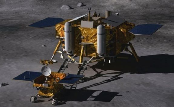 The Chang'e 3 lunar lander and moon rover is part of the second phase of China's three-step robotic lunar exploration program. Credit: Beijing Institute of Spacecraft System Engineering