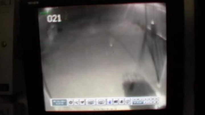 The ghostly image was captured on a surveillance camera.(Española Police Department)