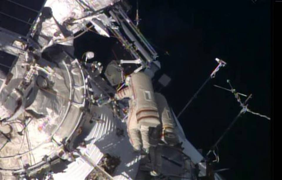Russian Cosmonauts Spacewalk