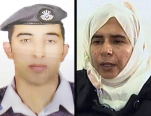 Jordanian pilot Lt. Muath al-Kaseasbeh, left, is being held hostage by ISIS. The group is calling for Jordan to release Sajida al-Rishawi, right, in exchange for the pilot. She was sentenced to death in Jordan for her involvement in a 2005 terrorist attack on a hotel that killed 60 people. (The Associated Press)
