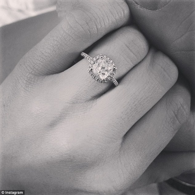 Happy: She then uploaded a picture of the engagement ring followed by a string of heart symbols