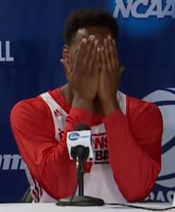Wisconsin's Nigel Hayes reacts in embarrassment after saying something he thought was only to teammate Frank Kaminsky, but the microphone was on.