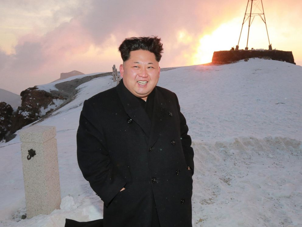 Kim Jong Un is seen atop Mt. Paektu in North Korea, in images released by state media April 19, 2015. KCNA/Reuters