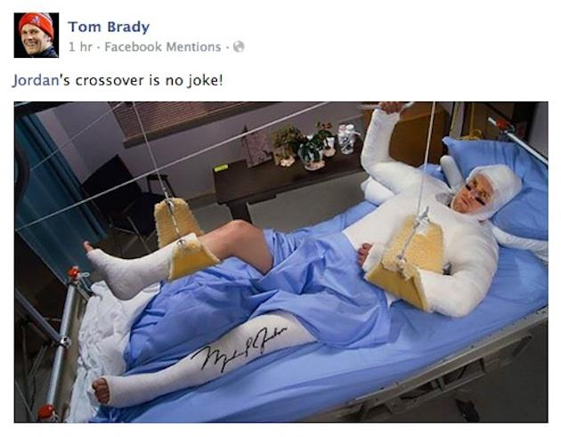 Tom Brady makes light of his pickup basketball game with Michael Jordan. (Facebook)