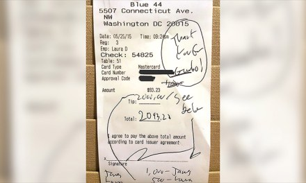 Waiter Gets 2,000 tip On $93 Bill In  DC
