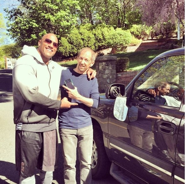 Dwayne Johnson Crashes Truck:  The Rock Hits Parked Car, Makes A friend