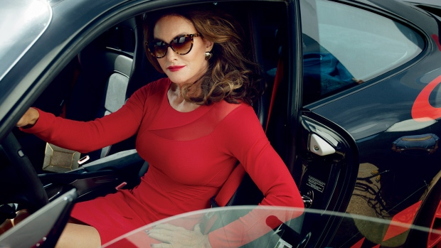 Caitlyn Jenner poses in her 2011 Porsche 911 GT3 RS in a photo by Annie Leibovitz published in the July 2015 edition of Vanity Fair. Jenner's debut Monday in the magazine's cover story is being heralded as a culture-changing moment. But not everyone agrees that her story represents the lives of non-famous transgender people. (Annie Leibovitz/Vanity Fair)