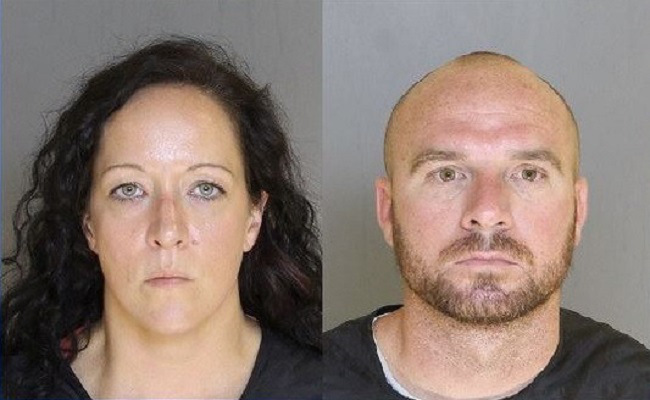 James Driggers (right), 33, and his wife Crystal (left), 33, ordered their 14-year-old daughter to set up a tent in woodland away from their home in Sumpter County, South Carolina, investigators say