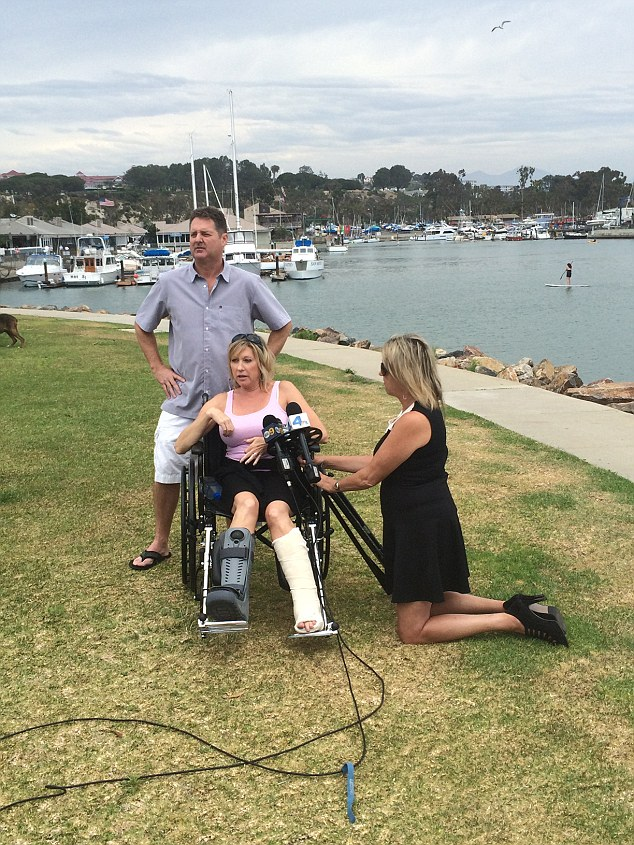 Seriously injured: The 350-pound dolphin knocked Mrs Frickman over, causing her to break both of her ankles. Dirk (left) and Chrissie Frickman pictured Wednesday, speaking to the media   Read more: http://www.dailymail.co.uk/news/article-3146240/Dolphin-leaps-boat-injuring-California-woman.html#ixzz3egudpUAn  Follow us: @MailOnline on Twitter   DailyMail on Facebook