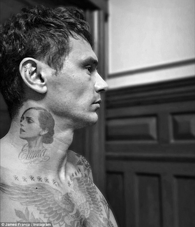 Hes a Harry Potter fan!: James Franco showed off his Emma Watson tattoo in a joke Instagram post Wednesday