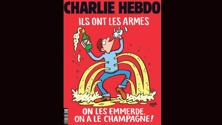 """Charlie Hebdo cover: """"Screw them, we have champagne"""""""