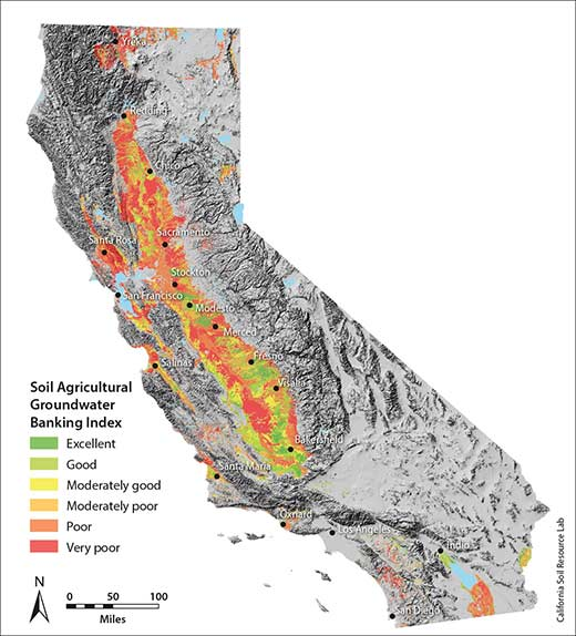 This map is part of the Soil Agricultural Groundwater Banking Index, which identifies farmlands with the most potential to capture groundwater and help recharge the aquifer. (UC Davis graphic)