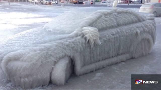 Buffalo car in ice