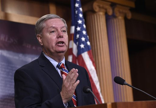 Sen. Lindsey Graham, R-S.C., a former Republican presidential candidate, answers questions about his opinions on the presidential candidates, Thursday, Jan. 21, 2016, during a news conference on Capitol Hill in Washington. (AP Photo/Susan Walsh)