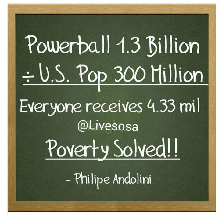 A new meme claimed poverty would be solved if we all split the Powerball jackpot. If only the math worked out.