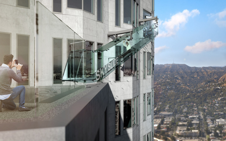 """Skyspace LA"" at the U.S. Bank Tower will include a ""Skyslide,"" shown in this rendering. The Skyslide will be 46 feet long, 4 feet wide and made of 1 1/4- inch-thick glass. (Credit: OUE Skyspace LA )"