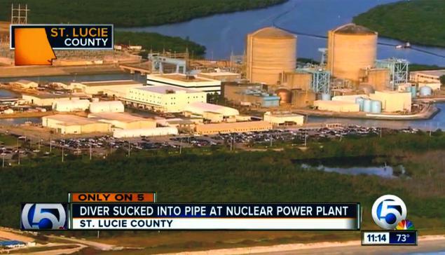 scuba diver sucked into nuclear plant pipe