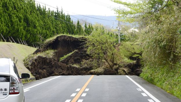Roads have been damaged and big landslides have been reported over a wide area