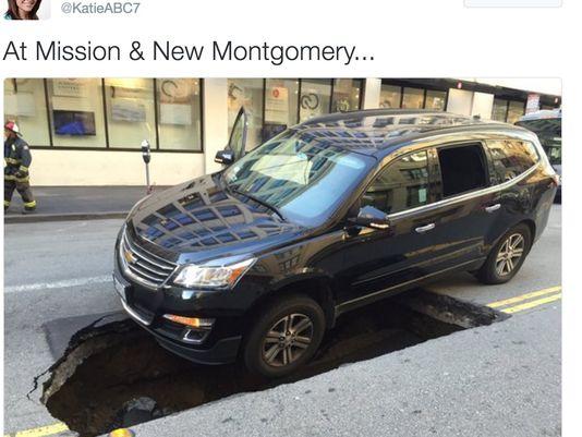 San Francisco sinkhole swallows Uber car