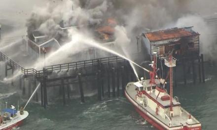 Seal Beach pier on fire:   eight fireboats helped extinguish blaze