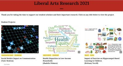 Image of Liberal Arts Research 2021 website