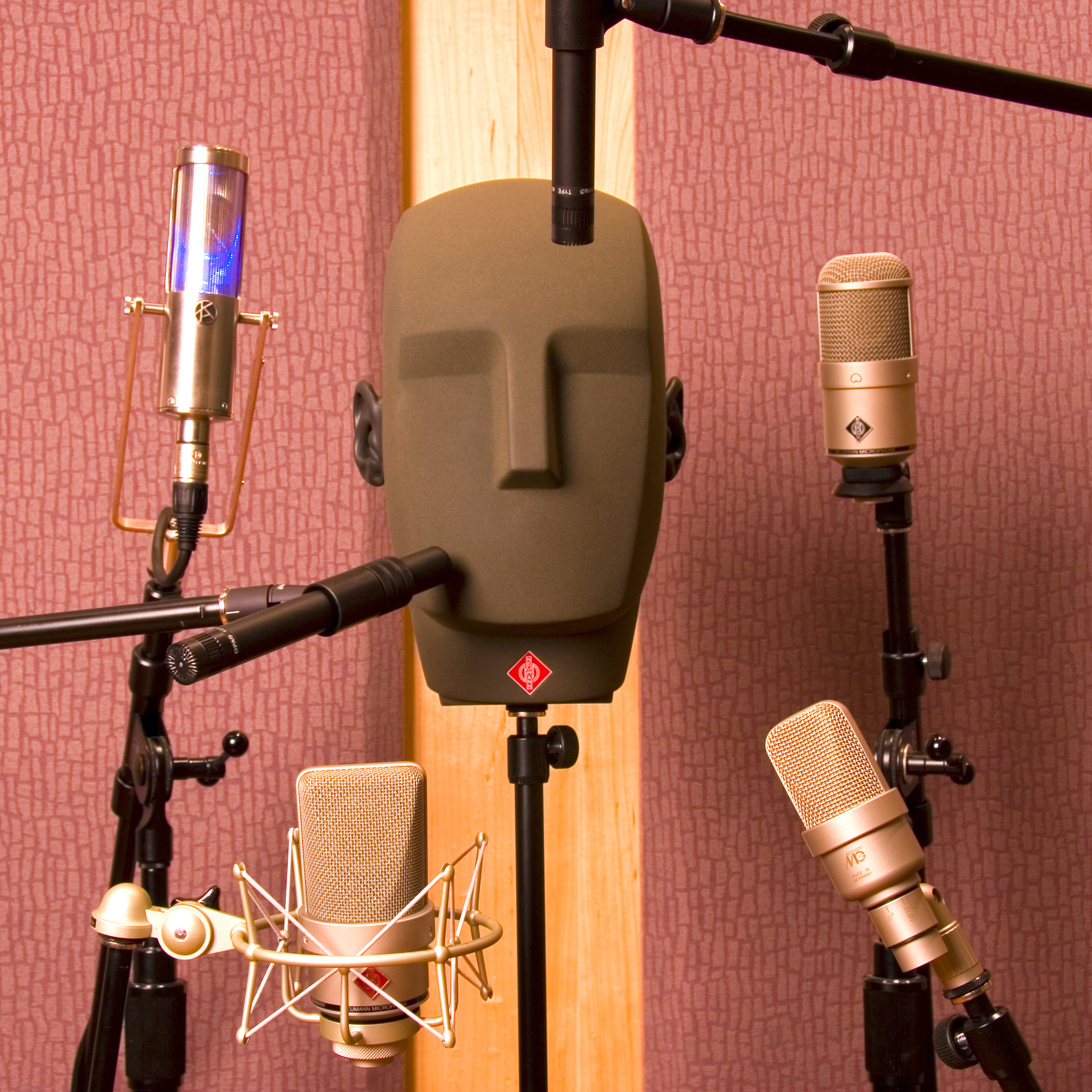 close-up image of a test mannequin with 6 microphones