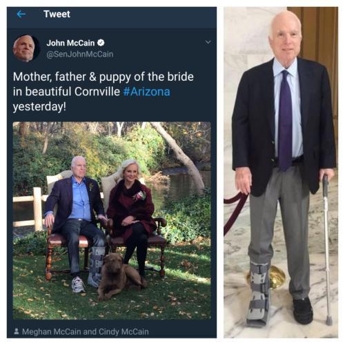 John McCain's wandering orthopedic boot
