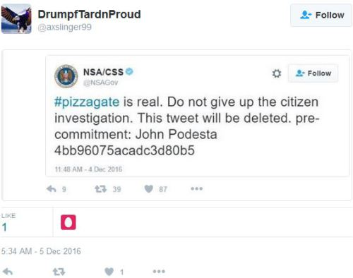 NSA tweet: Pizzagate is real