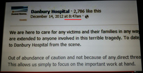 Danbury Hospital sent message about Sandy Hook 48 min. before police received first 911 call