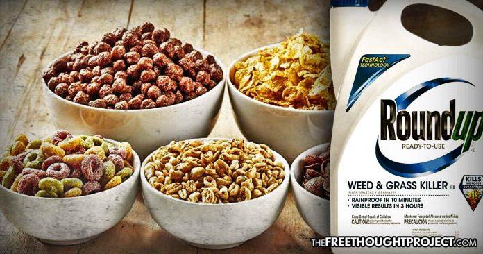 After Court Found It Gave a Man Cancer, Monsanto's Round-Up Found in Dozens of Kid's Cereals