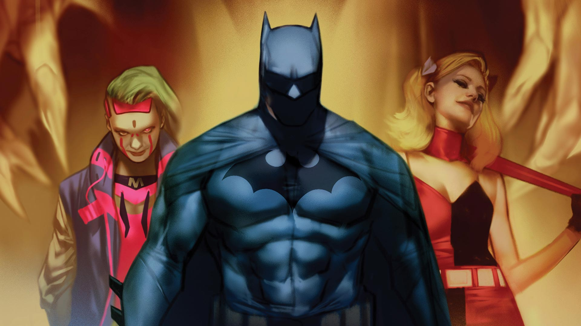 Miracle Molly, Batman, and Harley Quinn stand side by side.