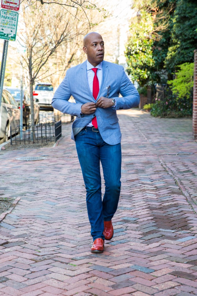 red accoessories button up and walk