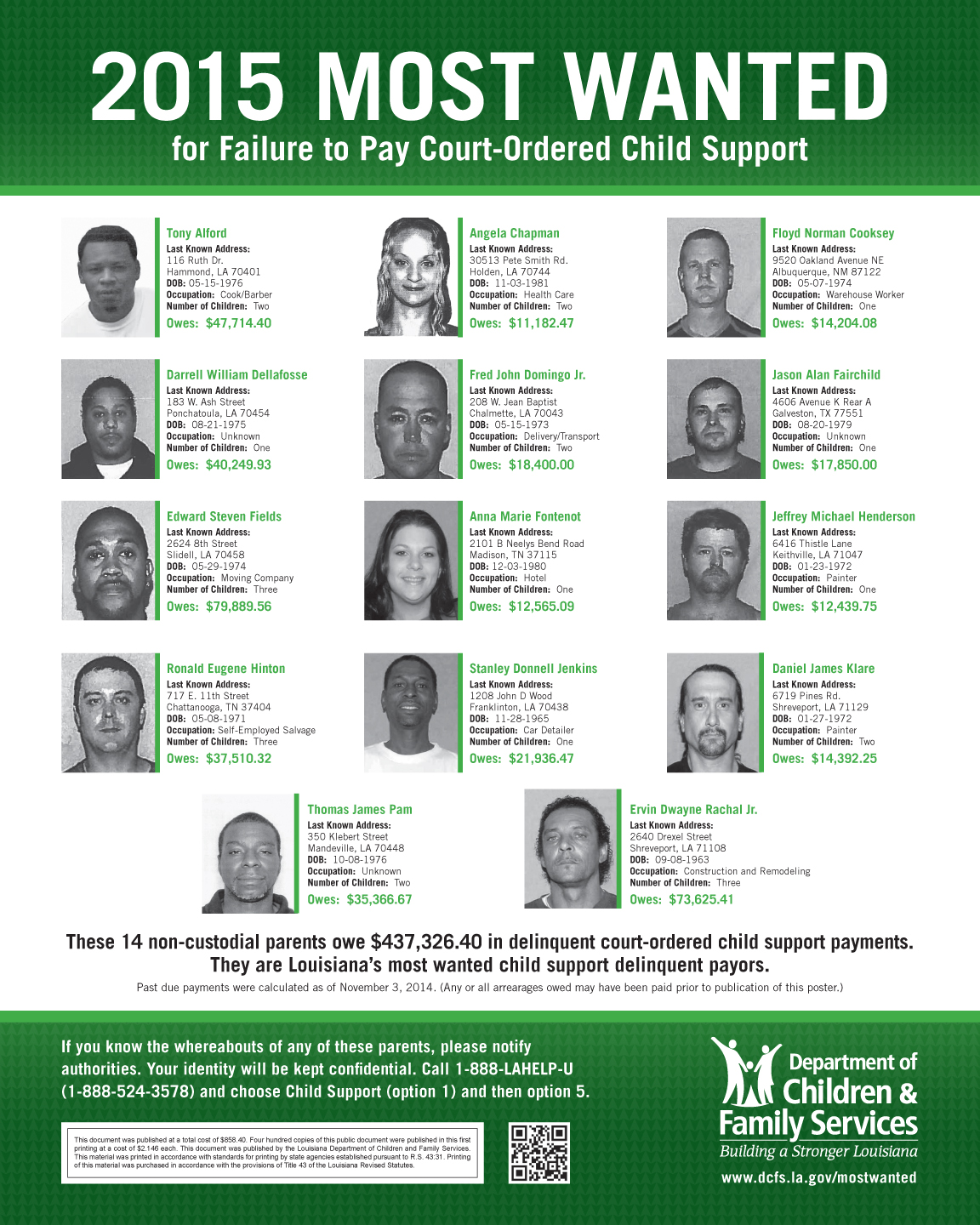 14 Deadbeat Parents Top List Of Dcfs S Most Wanted