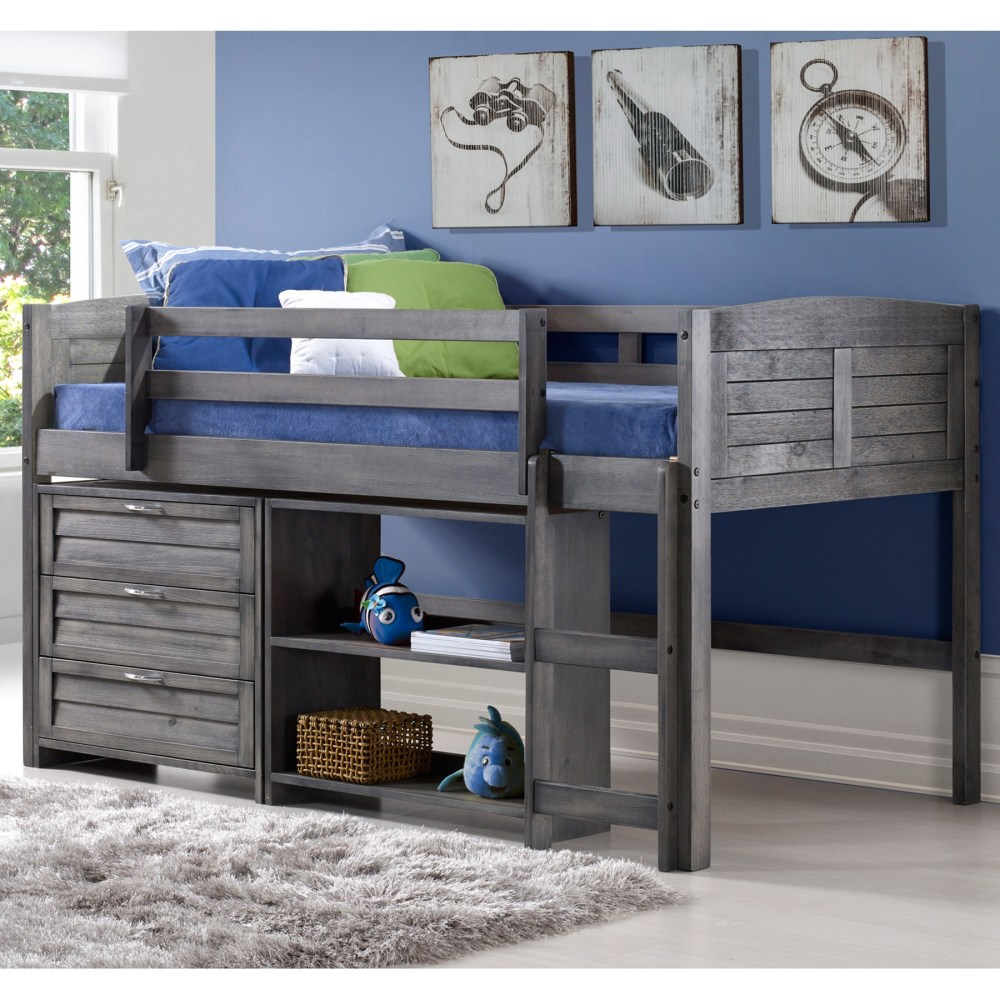 3 Pieces Bedroom Set Twin Bed 3 Drawers Chest And