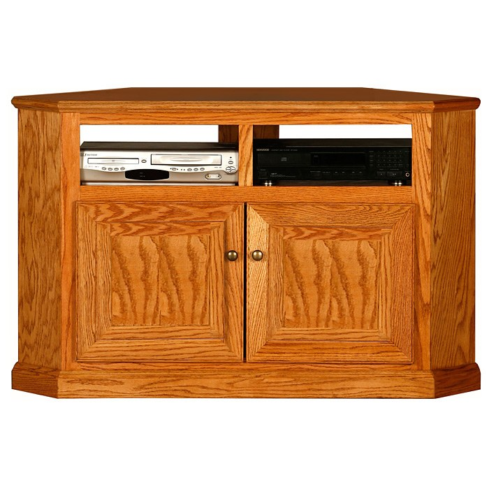 Classic Oak 50 Tall Corner TV Cabinet 2 Shelves 2