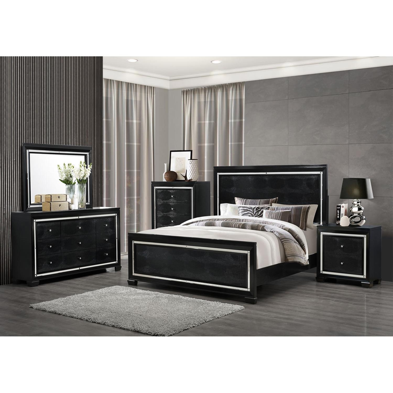 galaxy bedroom set in metallic black | dcg stores