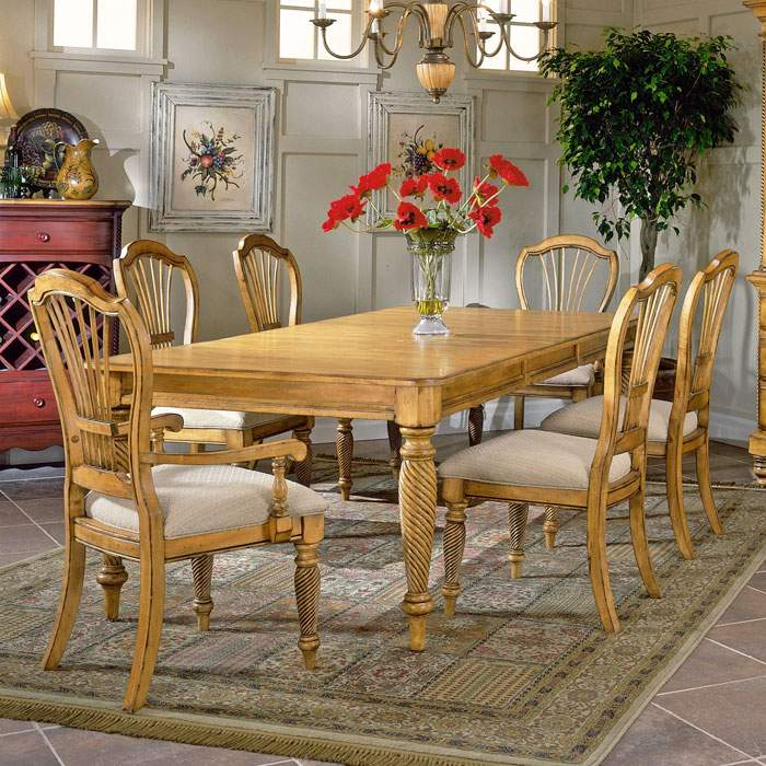 Wilshire 7 Piece Rectangle Dining Set With Arm Chairs DCG Stores