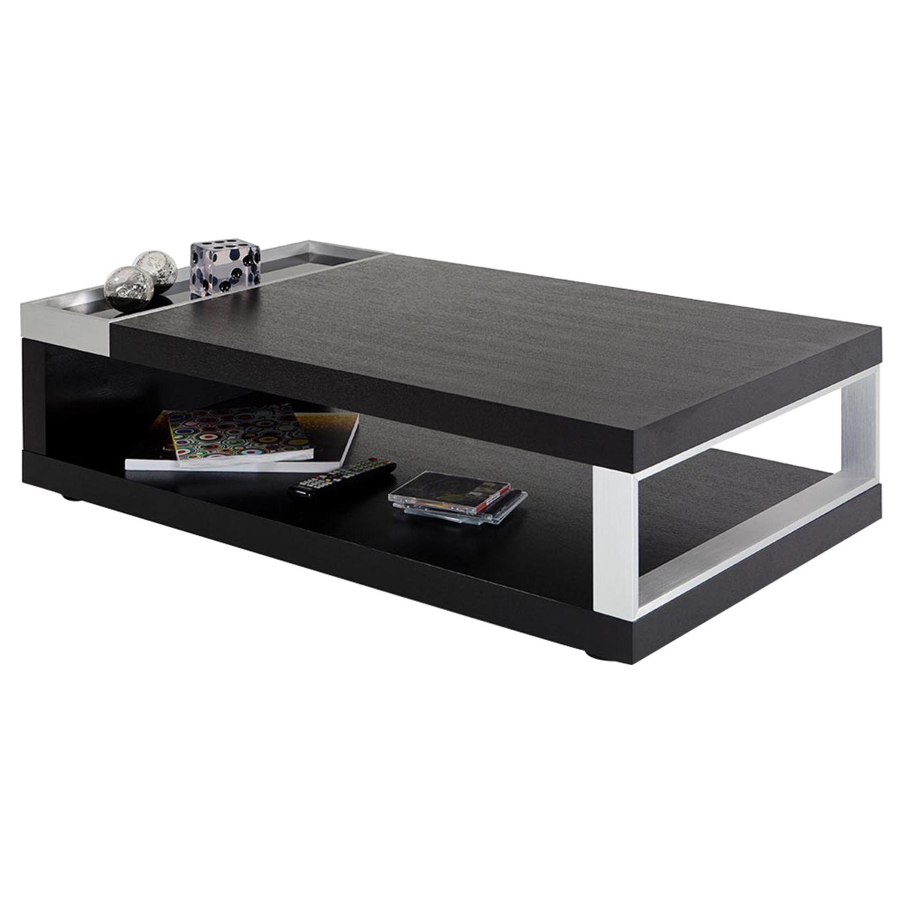 modrest gemstone modern rectangular coffee table black oak