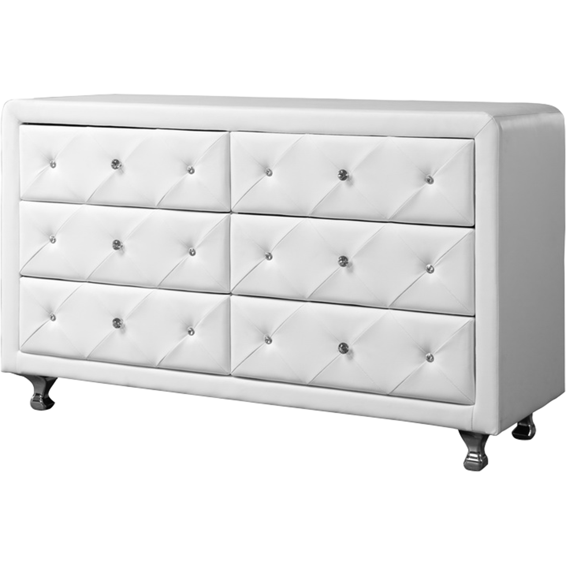 luminescence faux leather dresser 6 drawers white