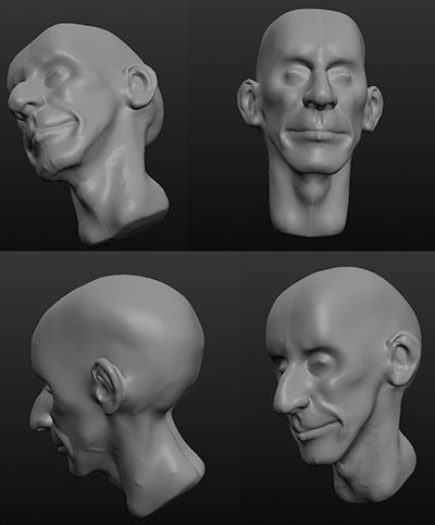 Head modeled in Sculptris