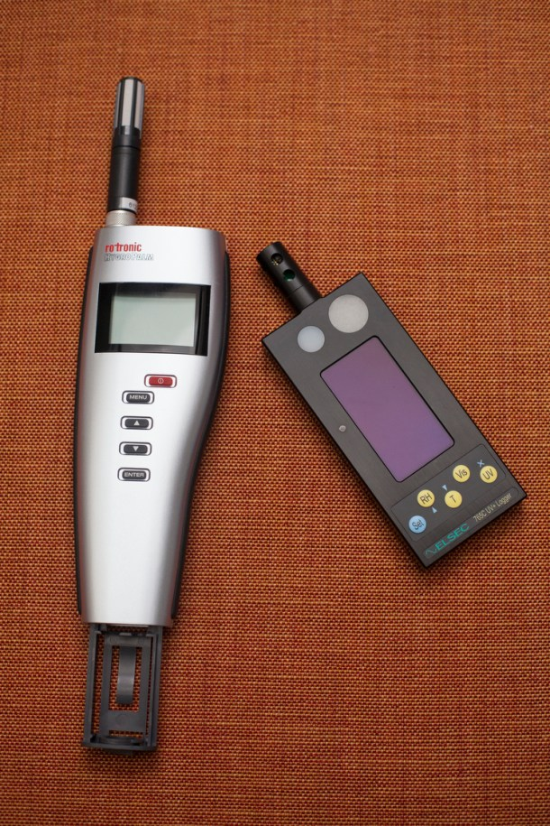 Handheld meters allow for real-time monitoring of temperature, relative humidity, dew point and light.