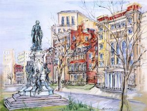 """Austrian-born artist Lily Spandorf (1914-2000) moved to Washington in 1960, living and working there until her death. Her """"Washington Never More"""" collection captured street life and local architecture in a rapidly changing city; many of the buildings she painted no longer exist. The Historical Society maintains a large collection of Spandorf's painting, including the 155 works in """"Washington Never More"""" series."""