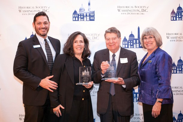 HSW Executive Director John Suau and HSW Board Chair Julie Koczela presented the awards to Lynne Brown for the Washington Blade and Calvin Cafritz of the Morris & Gwendolyn Cafritz Foundation.