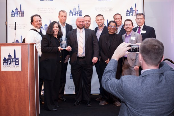 The staff of the Washington Blade gathered for a photo opportunity following the presentation of the award.