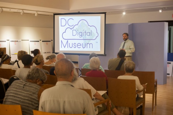 During the lecture portion of the workshop, Jasper Collier of Humanities DC presented on neighborhood context and the DC Digital Museum.