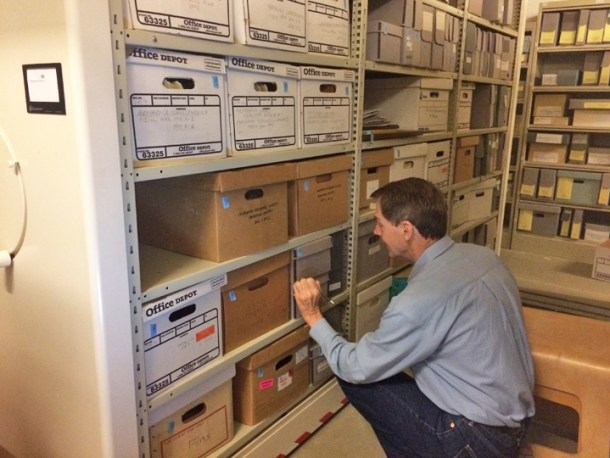 Before the move, many collections were identified with handwritten labels that while legible, sometimes required a bit of squinting to read, particularly on dark brown or dark gray boxes.