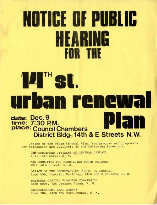 Flyer, 14th St. Urban Renewal Plan, c.1970